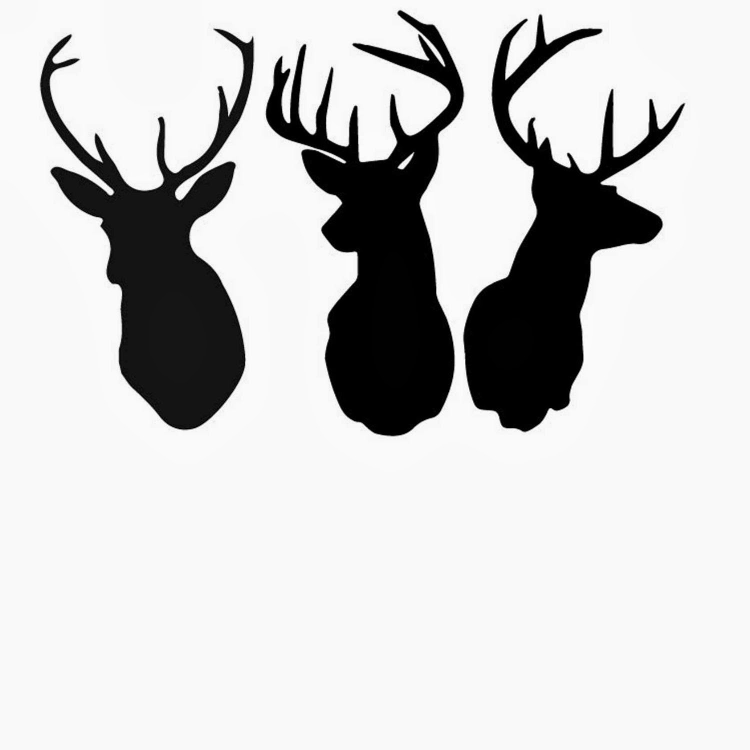 Reindeer Head Silhouette Template Than glue the silhouette to