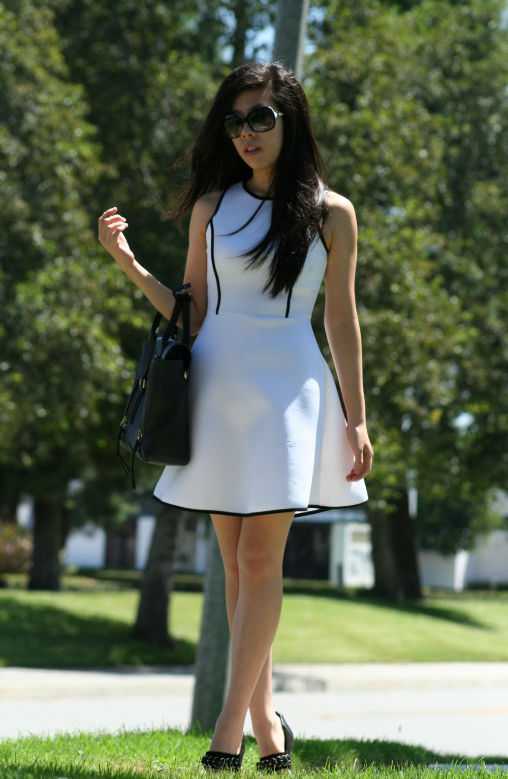 White Dress and Black Details
