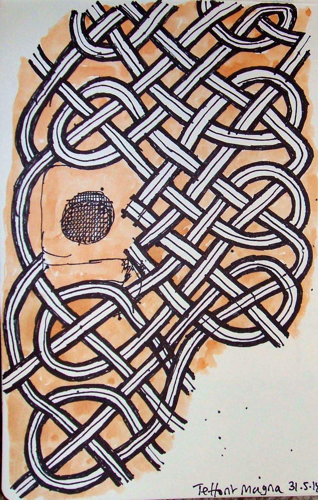 My pen and watercolour sketch of the larger knotwork carving.
