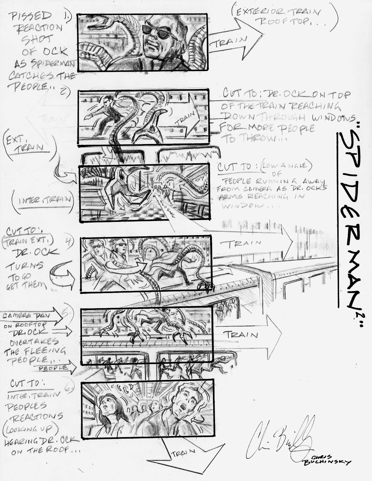 SPIDER MAN 2 Subway Train Attack Storyboards By Chris Buchinsky