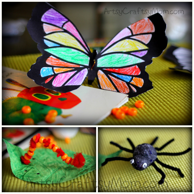 Learn how to make a hungry caterpillar craft & a butterfly that's a perfect activity for The Very Hungry Caterpillar and a very busy spider for Eric Carle's books
