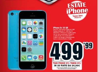 Prezzo scontato e tasso zero su iPhone 5C da Mediaworld