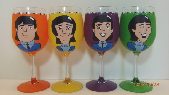 Retro Beatles Painted Wine Glasses - kudoskitchenbyrenee.com