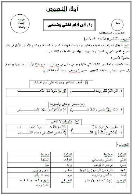 مذكرة عربية للثانوى الفنى والدبلومات الفنية