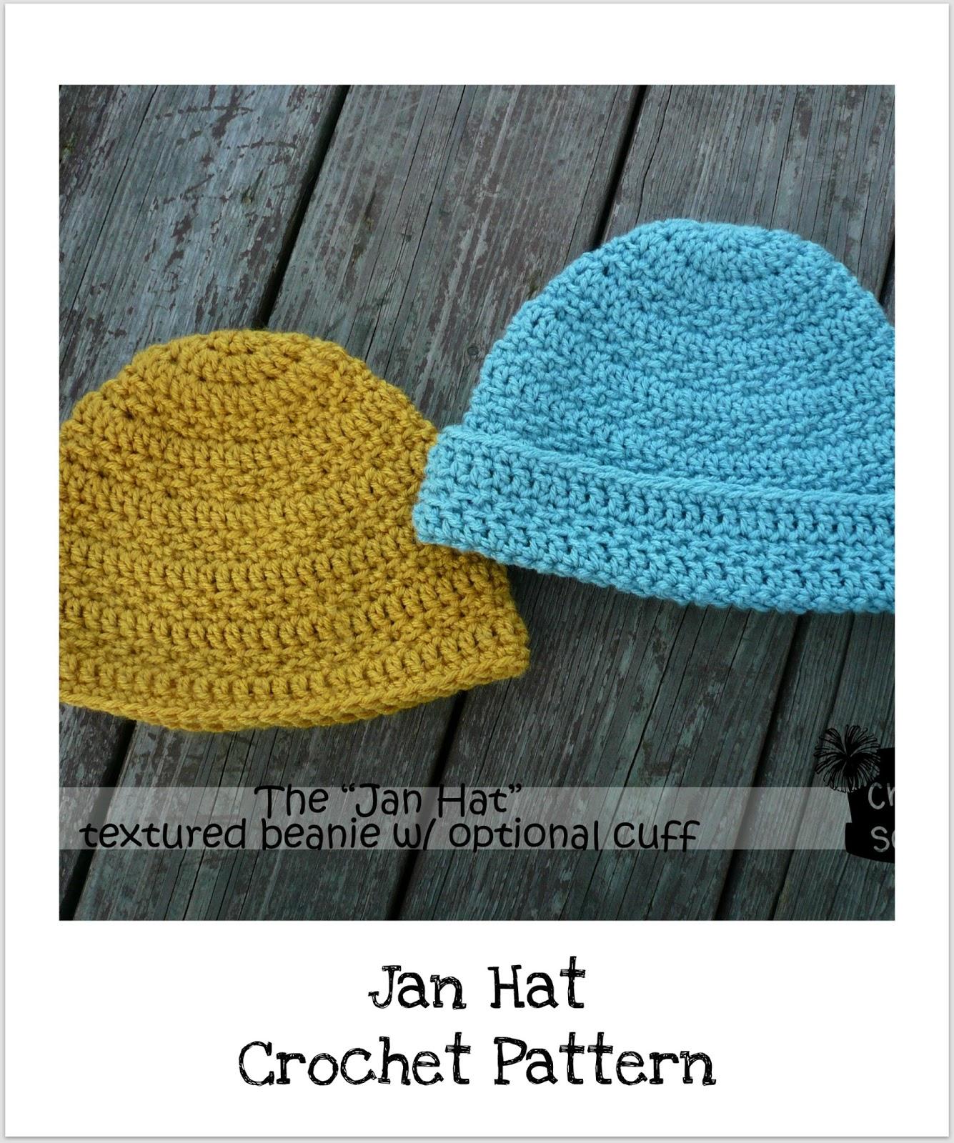 Crochet Hat Pattern With Cuff : Danyel Pink Designs: CROCHET PATTERN - Jan Hat