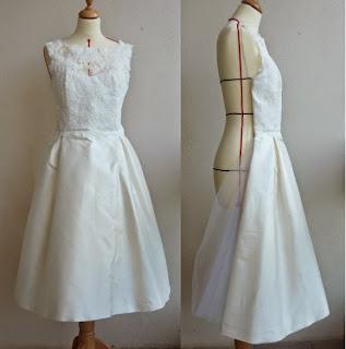 robe de mariée courte année 50 par créateur à Versailles