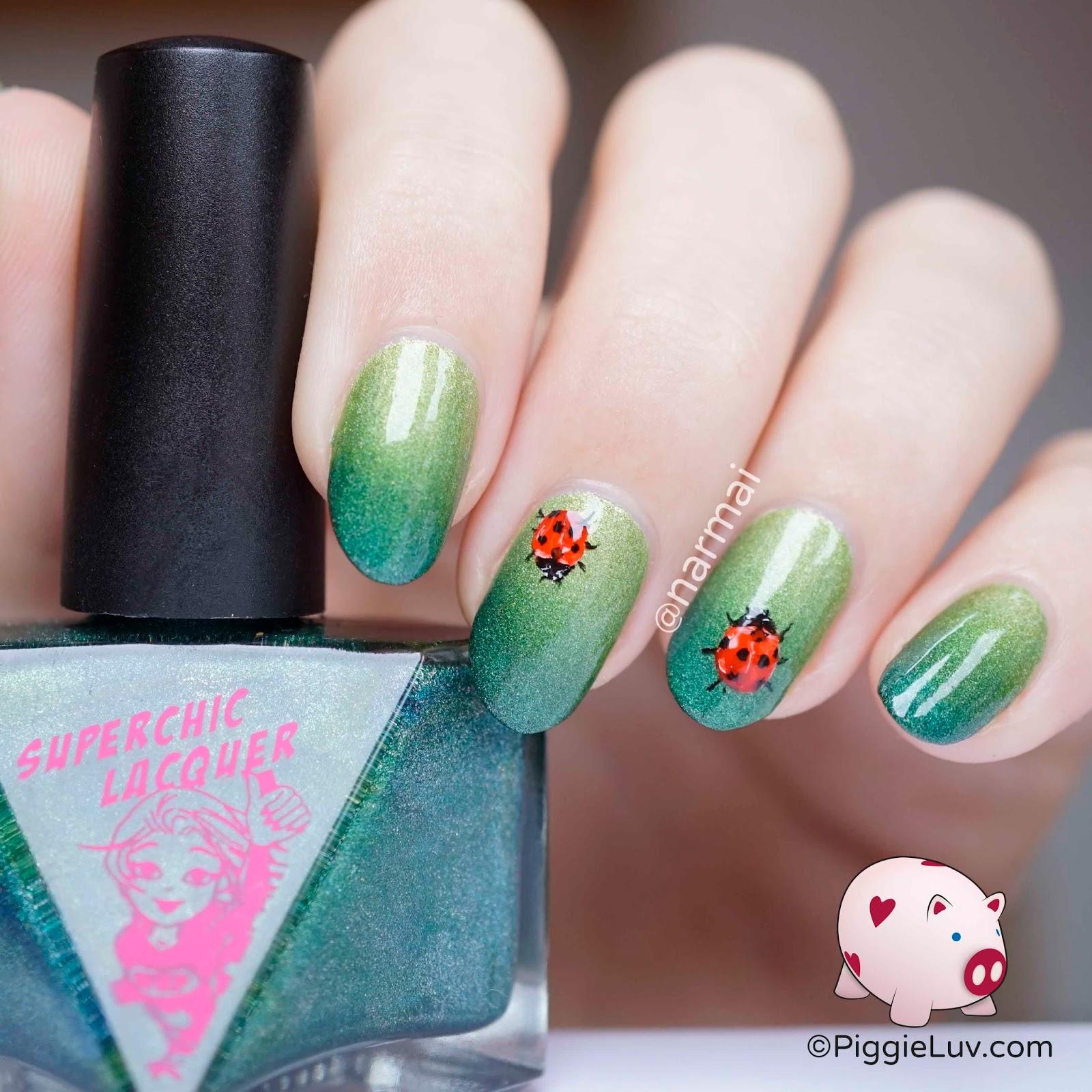 PiggieLuv: Freehand ladybug nail art