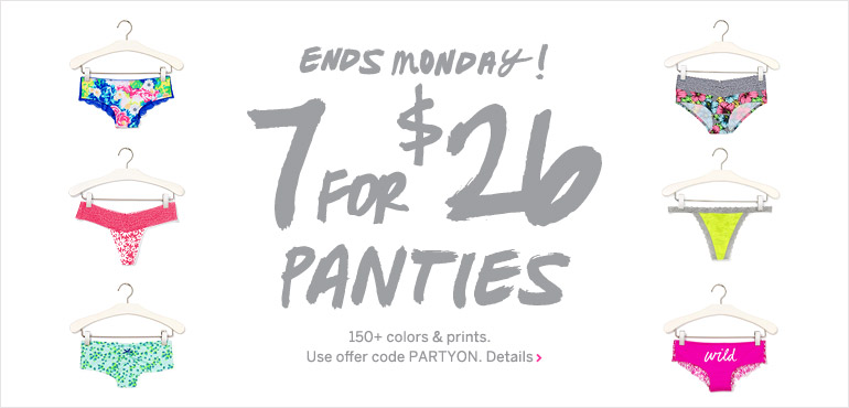 VS Pink 7 for $26 Panties