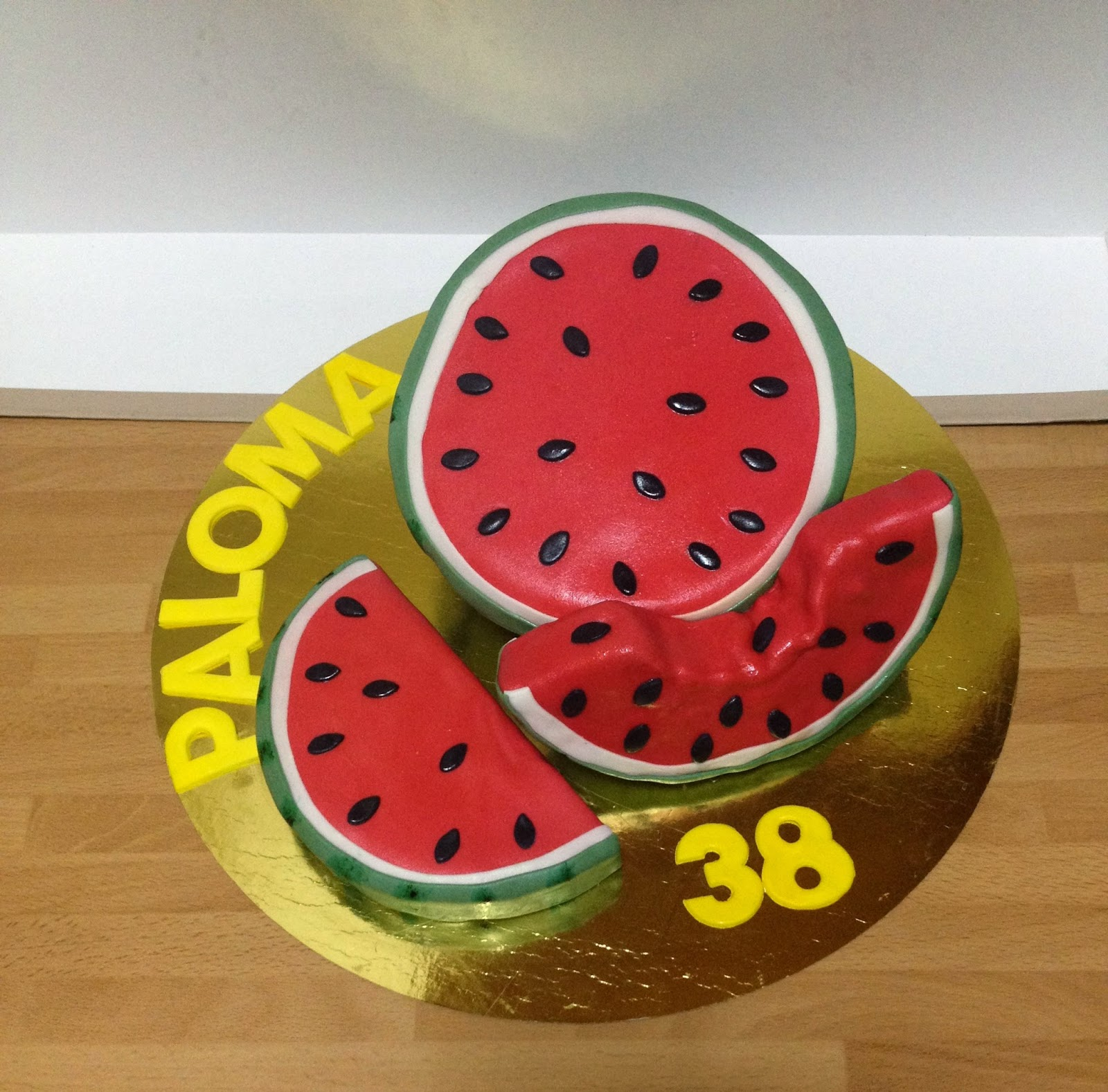 tarta sandia; tarta fondant sandia; tarta decorada sandia