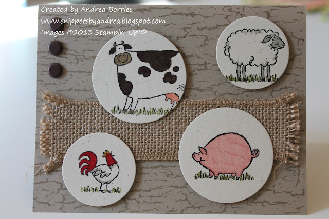 Card with farm animals -- cow, sheep, rooster and pig -- in punched circles.