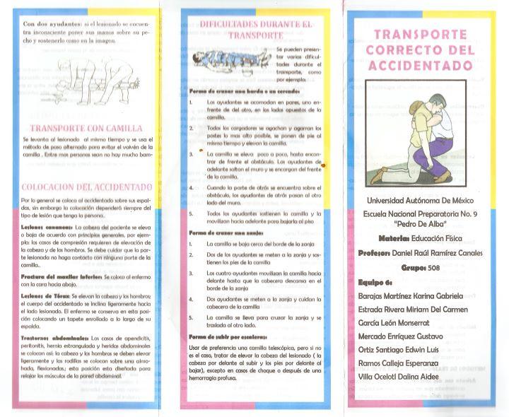 RIOS VARGAS - EDUCACION FISICA V (508): TRIPTICOS DE PRIMEROS AUXILIOS