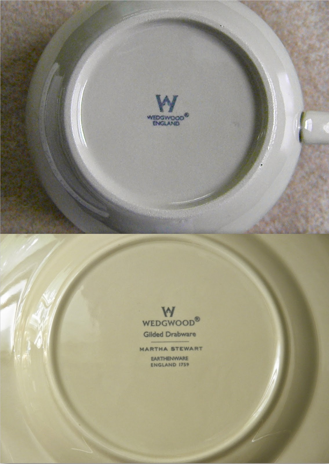 Collectors take note the gilded teacup u0026 the egg cups have a pared down version of the Wedgwood markings. The top photo shows you what each gilded teacup ... & Good Things by David: Wedgwood Drabware