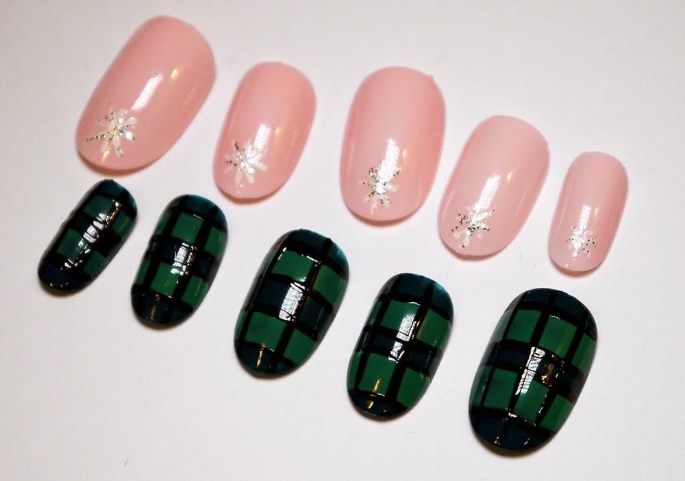 Tartan nail art, pink nail art