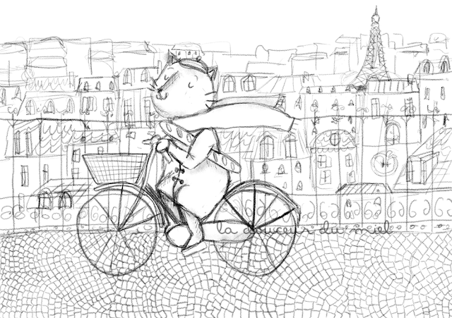 black & white Mathias the French cat in Paris, fall time digital illustration