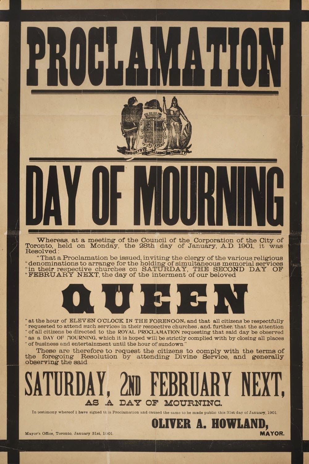 The City Of Toronto S Proclamation For A Day Of Mourning