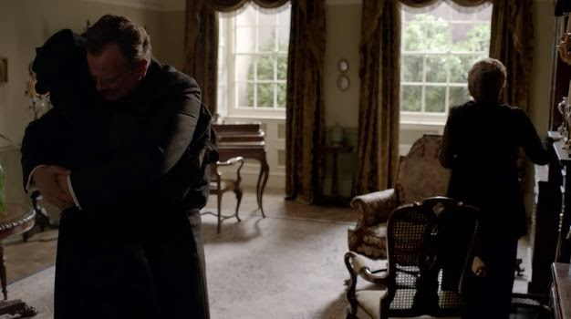 Lord Grantham and Lady Cora mourn the death of Lady Sybil