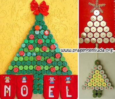 Árvores de natal com reciclagem de tampinhas pet
