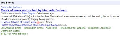 Google News i reportaže o Osama Bin Ladenu