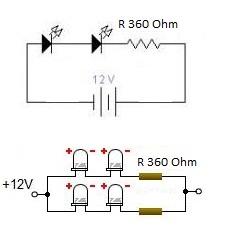 Rangkaian Lampu LED Untuk Motor  12 Volt Battery