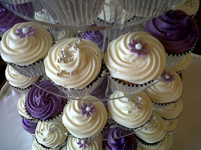 purple and white wedding cupcakes