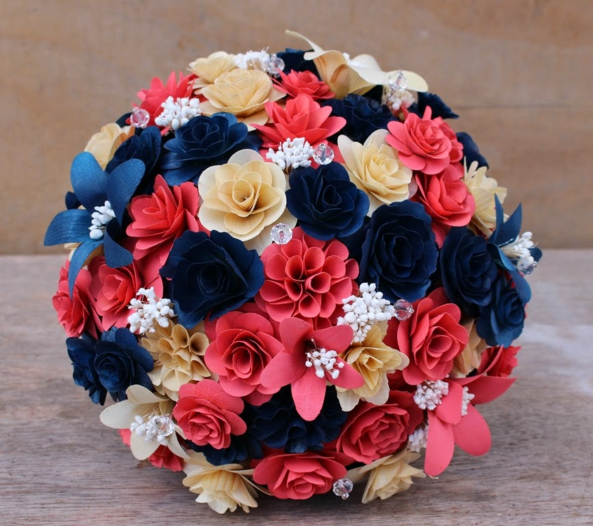 Coral and Navy Blue Wedding Bouquet Made of Wooden Flowers   Reduce ...