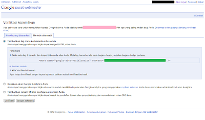 Cara Daftar Blog di Google Webmaster Tools - Meta Tag Verifikasi