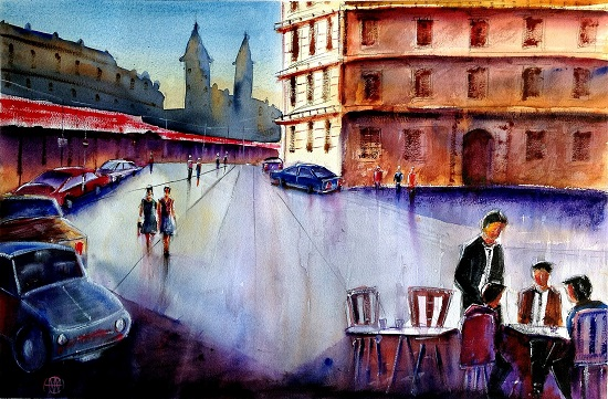 Cityscape - XVII, painting by Ivan Gomes (part of his portfolio on www.indiaart.com)
