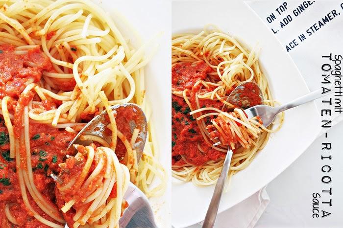 Spaghetti mit Tomaten-Ricotta Sauce