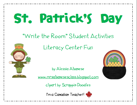 http://www.teacherspayteachers.com/Product/Write-the-Room-Literacy-Center-Student-Activities-St-Patricks-Day-206355
