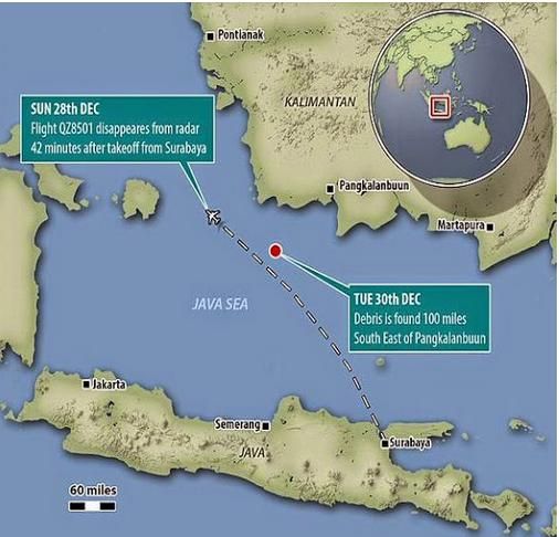 LOKASI PENEMUAN PESAWAT AIRASIA QZ8501 YANG HILANG