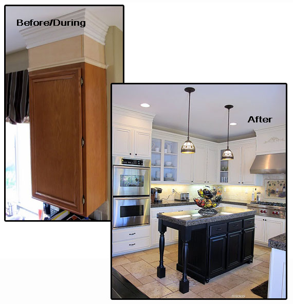Remodelaholic great molding ideas for you home for Attaching crown molding to kitchen cabinets