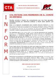 CTA OBTIENE DOS MIEMBROS EN EL COMITÉ DE EMPRESA