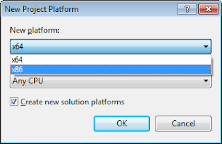 Cara Setting Project Database Visual Basic .NET dengan Microsoft Access Berjalan di Windows 64bit Dialog New Platform x86