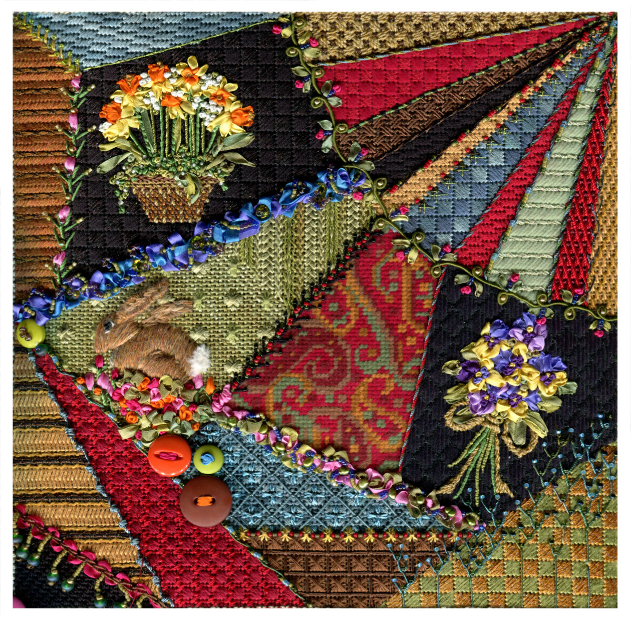 Crazy Quilt Pattern Images : Kelly Clark Needlepoint Handbook: Crazy Quilt is DONE!