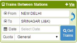 trains between new delhi and srinagar