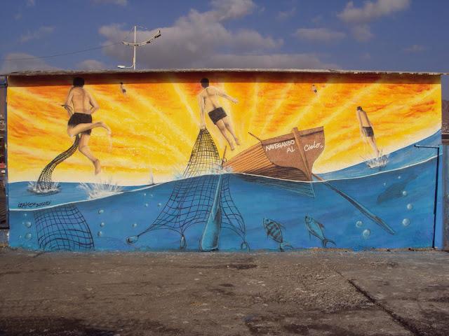 graffiti de izak homenaje de pescadores en antofagasta, chile