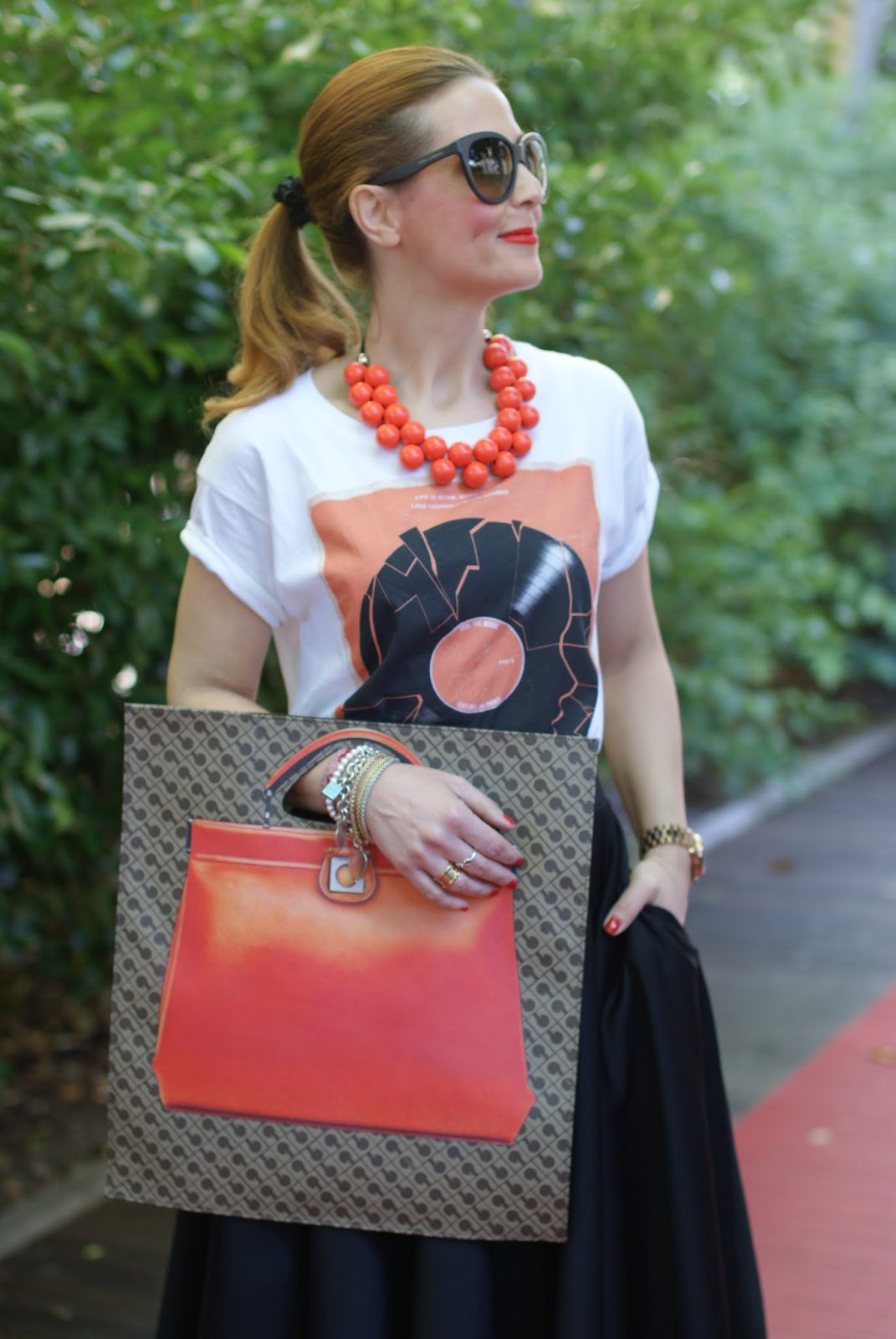 Gherardini Piattina Anniversary bag, orange flat bag, Fashion and Cookies fashion blogger