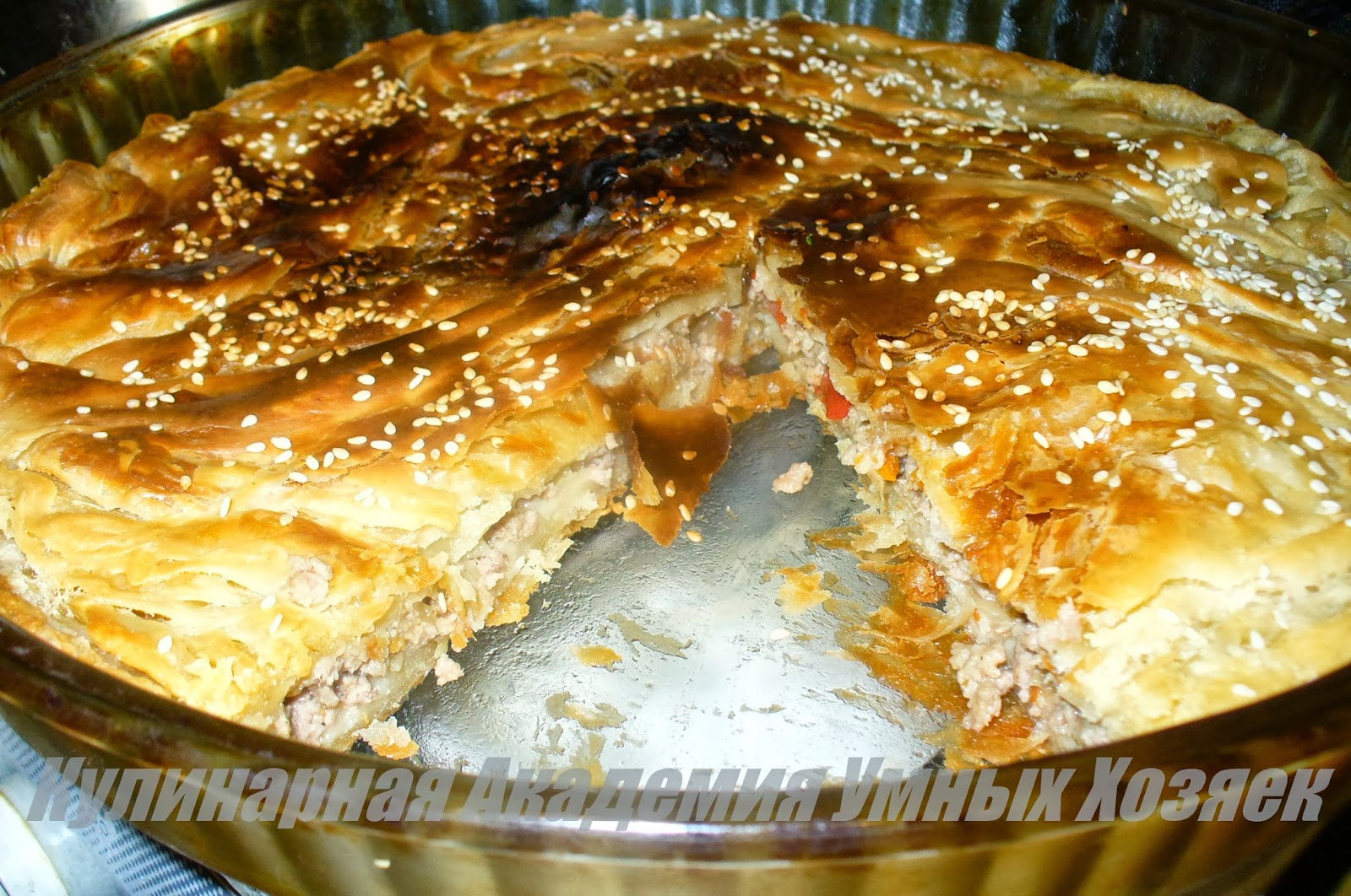 Пирог с мясом тесто слоеное рецепты