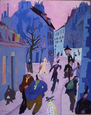 Lyonel Feininger, In a Village Near Paris (Street in Paris, Pink Sky), 1909.