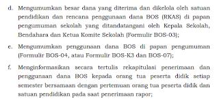 Pihak Tim Manajemen BOS sekolah wajib terbuka dalam hal penggunaan dana BOS, dan wajib memberikan laporan kepada orangtua siswa.