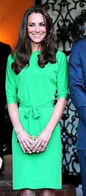Kate Middleton wearing green DVF dress