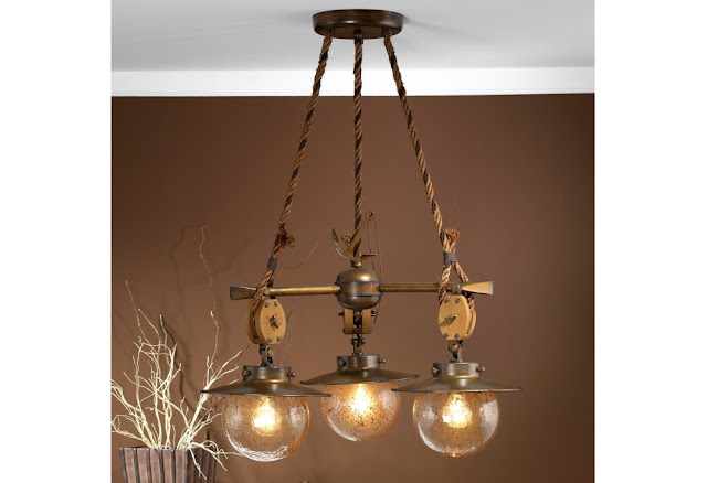 Three Light Nautical Chandelier from the Cadernal Collection