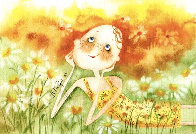 Рыжая девочка картинки рисованные