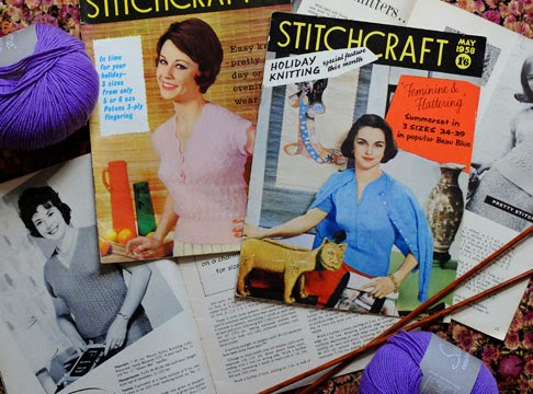 A collection of vintage Stitchcraft knitting magazines from the 1950s