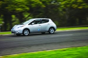 The Nissan LEAF efficiency rating improved by 12 percent between model year 2011 and model year 2013, lowering the amount of electricity needed per mile of driving. (Credit: Nissan) Click to Enlarge.