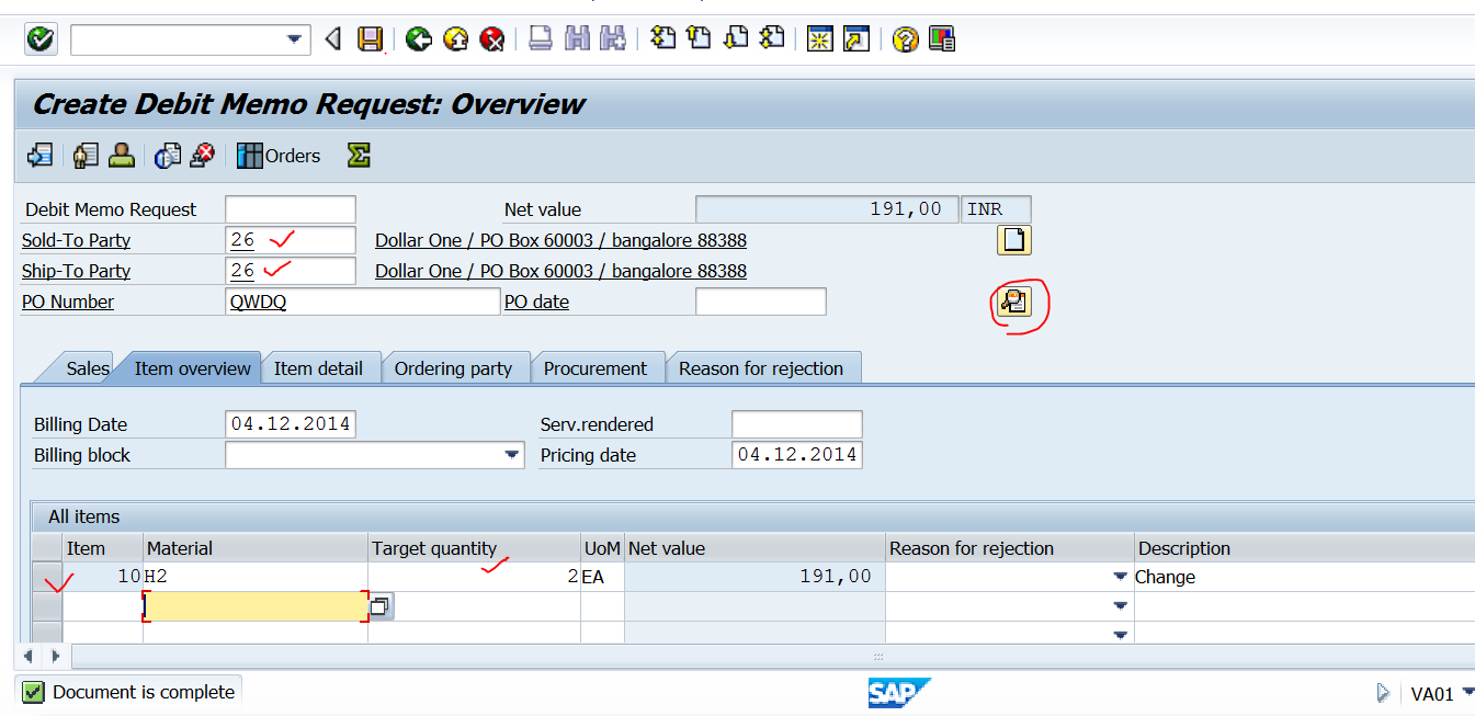 techsap creating a new billing output type and assigning it to provide the to party po number material and it s quantity and other necessary details to create a s document debit memo request