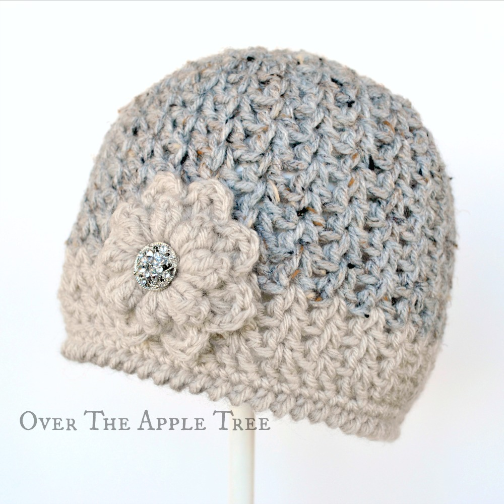 Free Crochet Patterns For Baby Girl Beanie : Over The Apple Tree: V-Stitch Winter Beanie