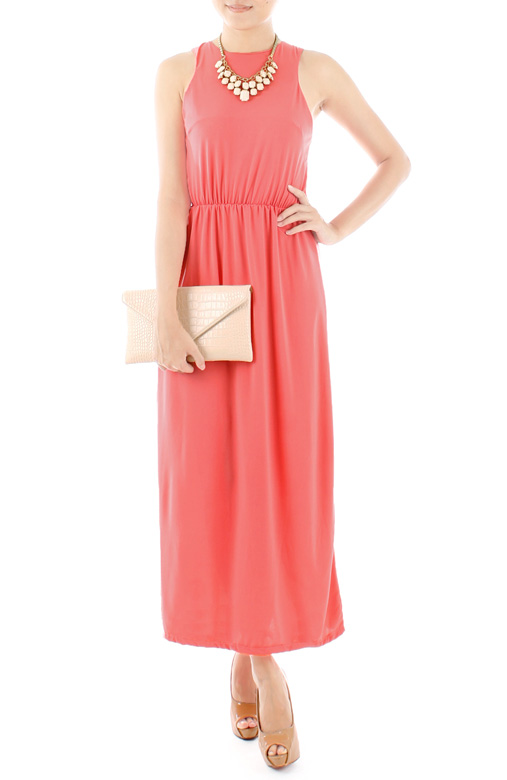 Oxford High Neck Maxi Dress in Salmon Pink