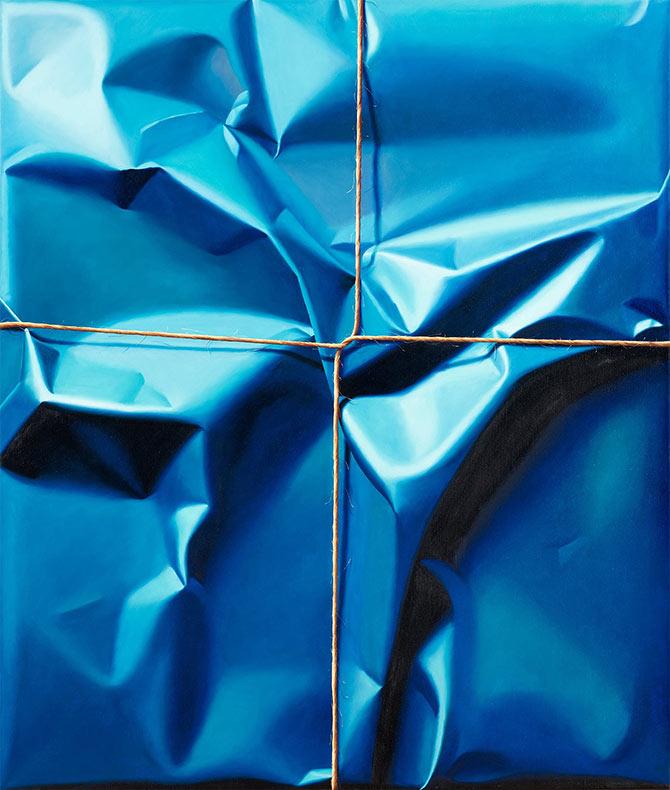 Pinturas al óleo hiperrealista de paquetes y regalos envuelto al azar