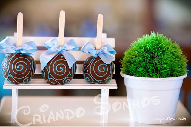 decoracao festa urso azul e marrom: Sonhos: Decoração de festa infantil Ursos Azul e Marrom Provençal